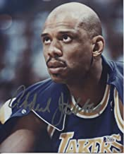 Kareem Abdul Jabbar AUTO Autographed Los Angeles Lakers 8x10 Picture Photo BAS Beckett Authentication Services Sitting in Warmup (circa 1988)
