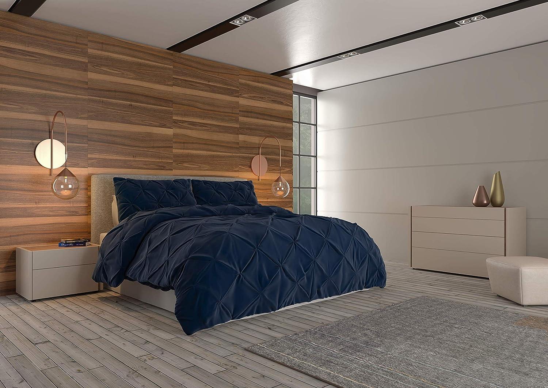 Very popular! Nestl Pinched Pleated Comforter Set - 3-Piece Full Co Luxury Navy Queen