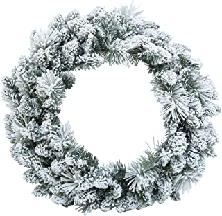 Napco Snow Flocked Split Evergreen Pine 24 Inch Artificial Decorative Hanging Christmas Wreath
