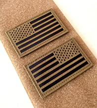 """2x3.5"""" Infrared IR US USA American Flag Patch Tactical Vest Patch Hook-Fastener Backing(1 Left + 1 Right) (Coyote Brown Tan)"""