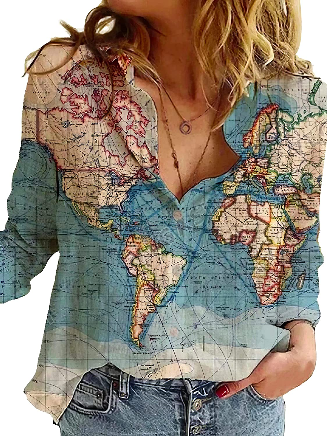 Unisex Creative World Globe Map All Over Print Buttons Shirts Loose Lapel Button Down Blouse Shirt