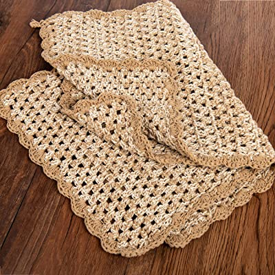 Eiyye Table Placemats Doily 2-Piece Rectangle Linen Weaving Thickened Cotton Crochet Handmade 12x18inch Beige
