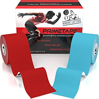 Nordic Lifting Kinesiology Tape (2-Pack) PrimeTape - Pro Sports & Athletic Taping for Knee, Shin Splints, Shoulder and Muscle - 2
