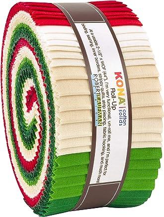 "Robert Kaufman Kona Cotton Solids Holiday Roll Up 2.5"" Precut Cotton Fabric Quilting Strips Jelly Roll Assortment RU-780-40"