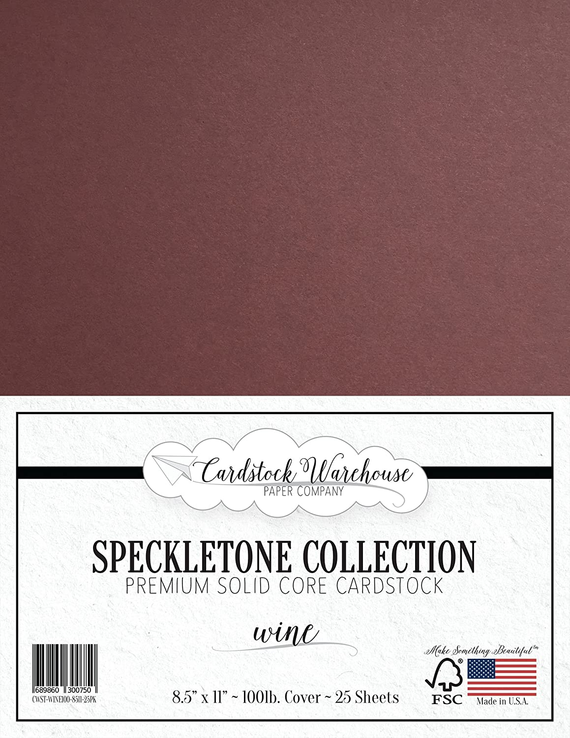 Wine SPECKLETONE Recycled Cardstock Paper - 8.5 x 11 inch - Premium 100 LB. Cover - 25 Sheets