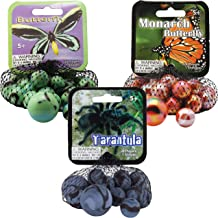 Mega Marbles 3 Pack - Butterfly, Monarch Butterfly, Tarantula Game Nets - Includes 1 Shooter Marble & 24 Player Marbles Per Net