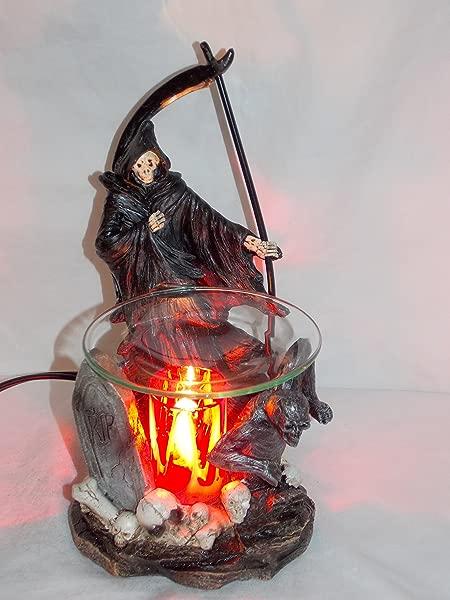 New Grim Reaper In Skull Graveyard Fragrance Oil Burner Tart Warmer With Dimmer