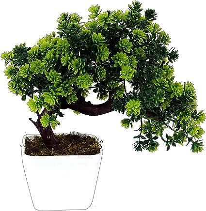 Pindia Plastic Artificial Bonsai Plant Tree Flowers with Pot (22 cm x 10 cm x 22 cm, Green)