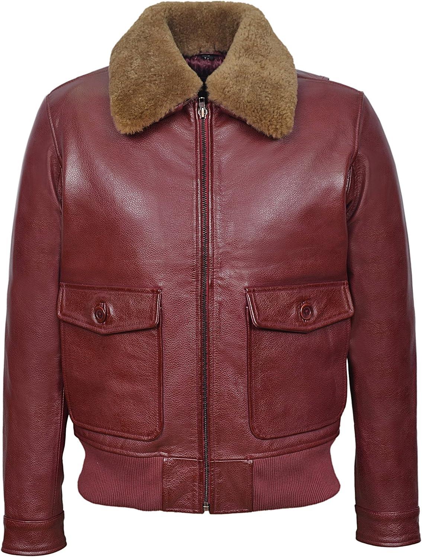 Johnson Classic A2 Men's Real Leather Flight WW2 Dark Cherry Ginger Shearling Collar Pilot Bomber Jacket 3070