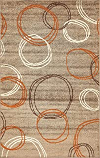 Modern Area Rug (Light Brown - 5' x 8'-Feet) Giza Collection Home Floor Décor Rugs - Living, Dinning, Office, Rooms & Bedrrom, Hallway Carpet