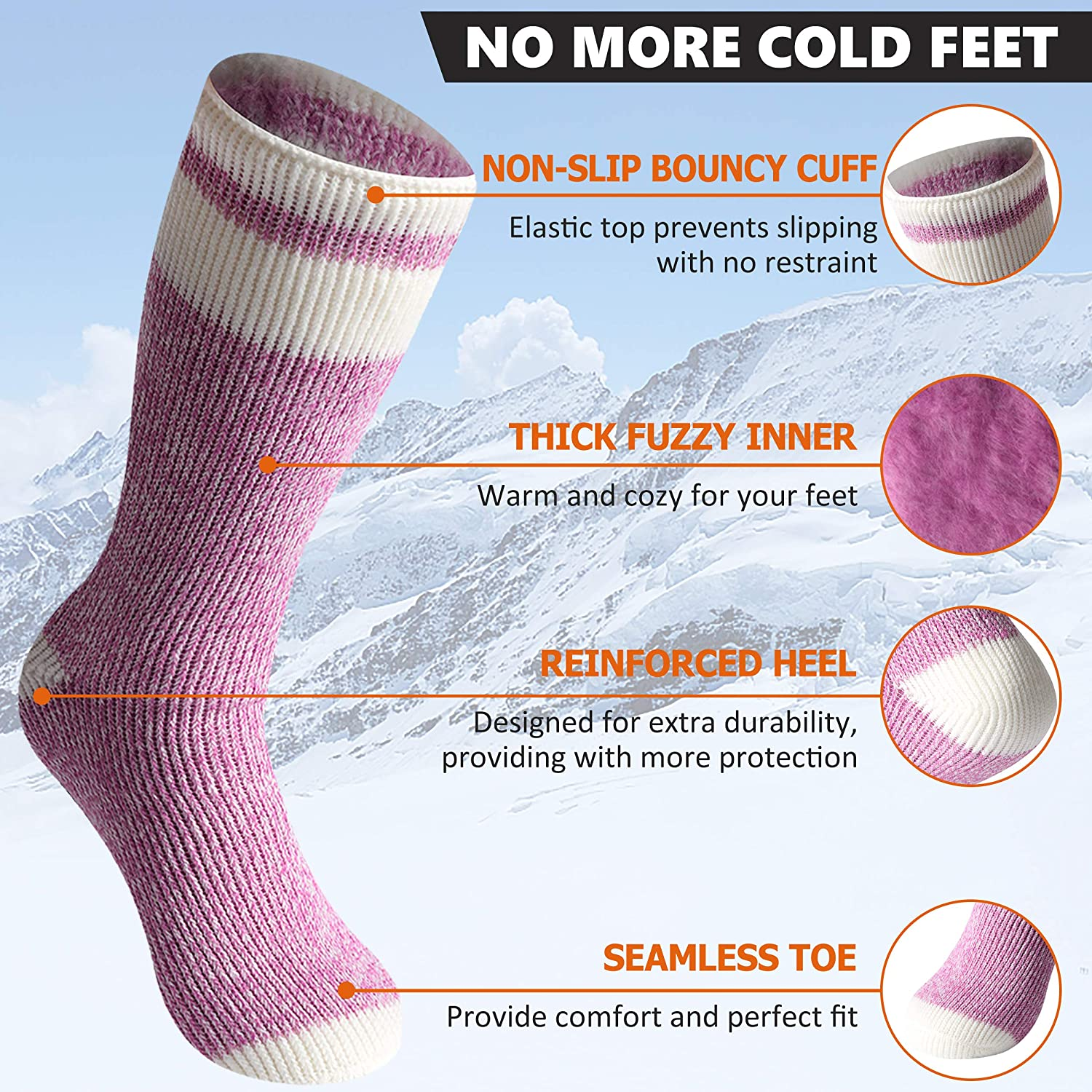 Bun Large Warm Thermal Socks Winter Unisex Thick Insulated Heated Socks for Cold Weather 1 Pair