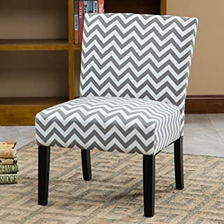 Roundhill Furniture Botticelli Grey Wave Print Fabric Armless Contemporary Accent Chair, Single