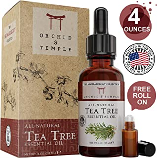 Tea Tree Essential Oil. 4 oz Bottle w Roller. Pure Therapeutic Grade Undiluted. Sooth Sore Throat, Natural Deodorant, Soothing Bath