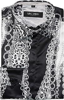 Camisa de Vestir para Hombre, Estilo Retro, con Estampado de Cadena, Color Negro y Gris