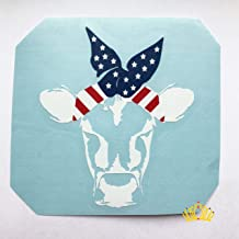 Cow with Patriotic Bandana Vinyl Decal for Car, Tumbler Cup or Laptop, 3.5 inches