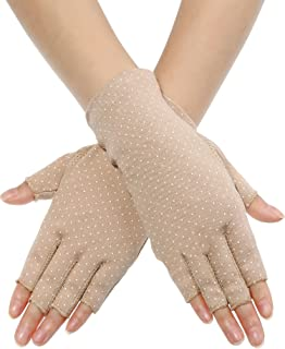 Sunblock Fingerless Gloves Non-slip UV Protection Driving Gloves Summer Outdoor Gloves for Women and Girls
