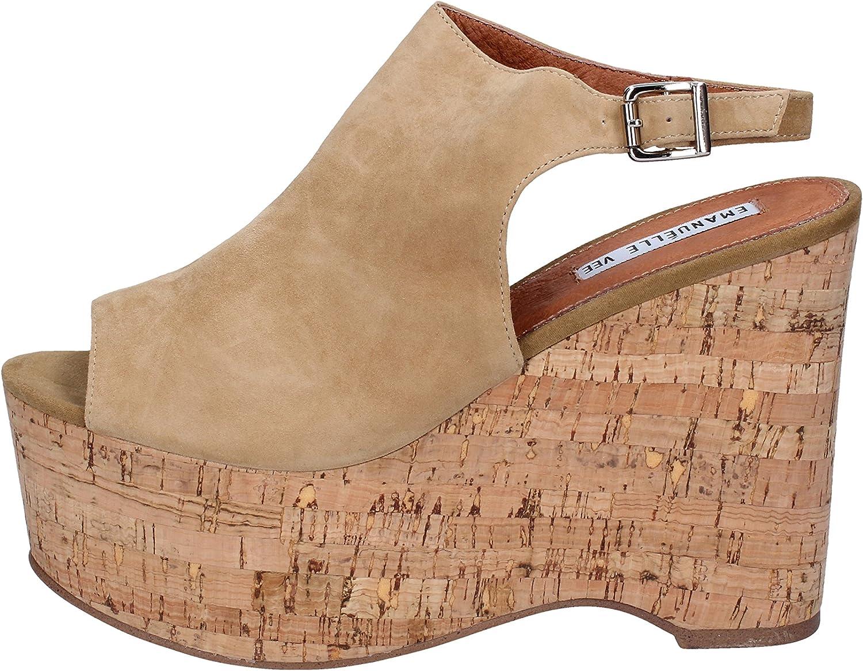 EMANUELLE VEE Sandals Womens Suede Beige