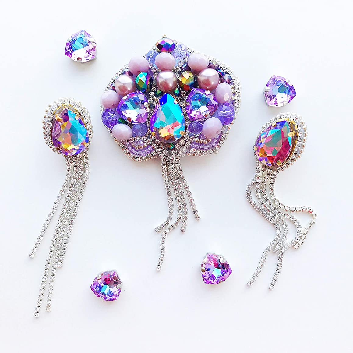Handmade Purple Crystal Brooch Violet Chandlier Earrings Set Flower Embroidered Pearls Pin Rhinestone Orchid Fashion Jewelry Beaded Accessory Gift for Herb Boho Chic Style