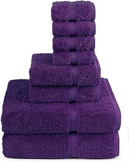 TURKUOISE TURKISH TOWEL 8 Piece Turkish Luxury Turkish Cotton Towel Set - Eco Friendly, 2 Bath Towels, 2 Hand Towels, 4 Wash Clothes by (Plum)