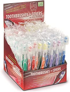 100 Bulk toothbrushes Individually Wrapped Medium Bristle Full Head Oral-Care Manual Multi-Pack Toothbrush Sets with hygienic Cap Perfect for Brushing Kids Teeth Adults Travel toiletries