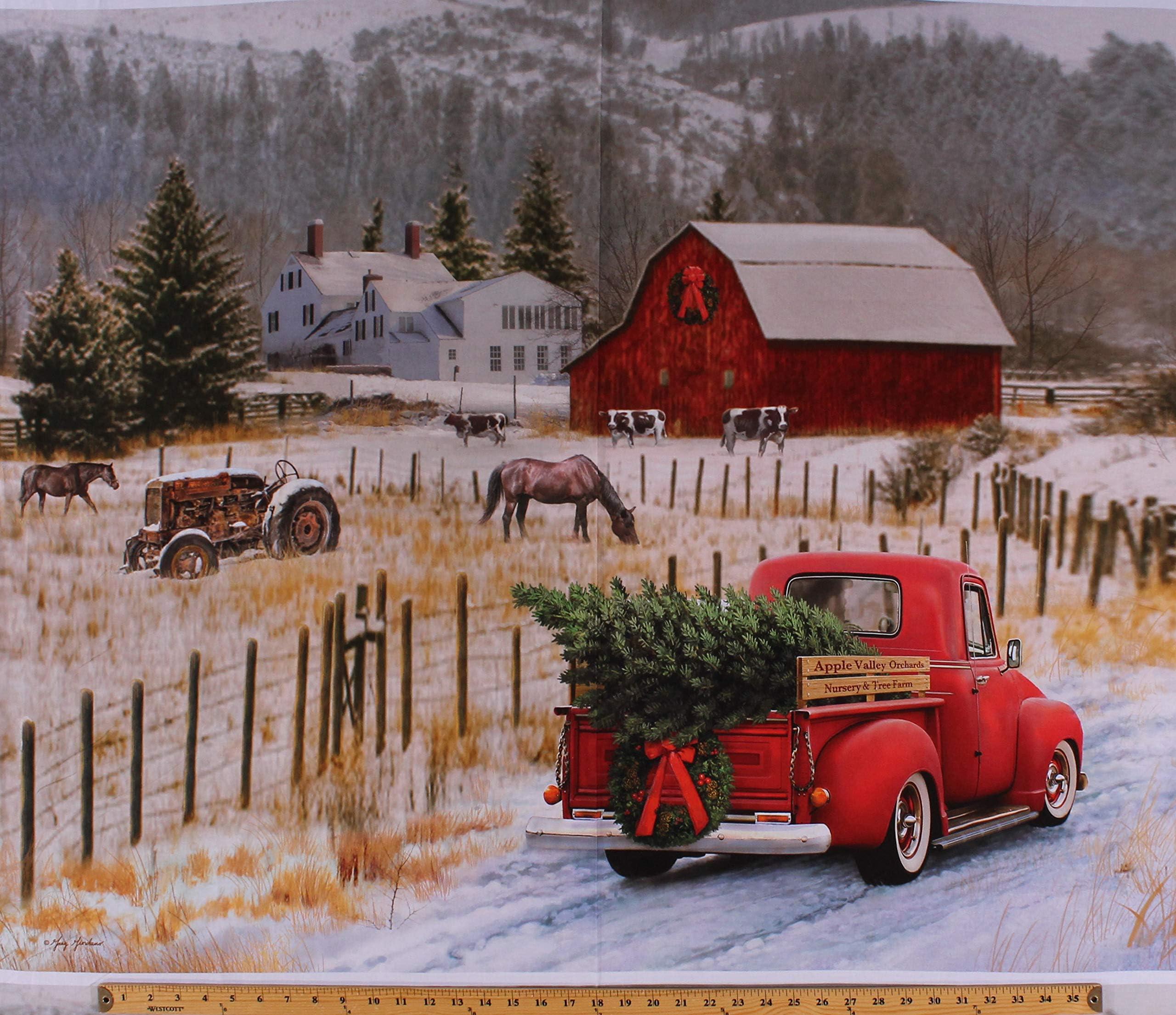 Rustic Christmas Panel Red Christmas Truck Fabric Rustic Red Truck Fabric Rustic Christmas Fabric Country Christmas Fabric