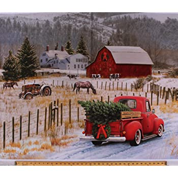 Red Truck Collage Panel 20045  100/%  Cotton Fabric