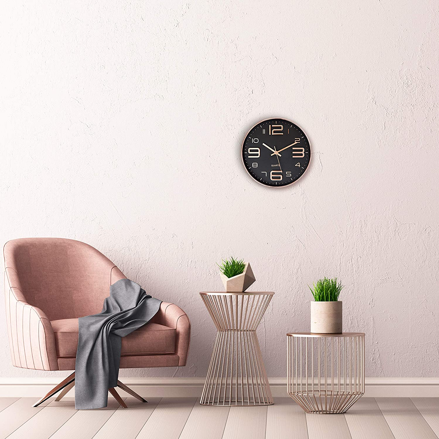 Bernhard Products Black Wall Clock 12 Inch Rose Gold Silent Non Ticking Quality Quartz Battery Operated Easy to Read Decorative Modern Design for Home//Office//Kitchen//Bedroom//Living Room