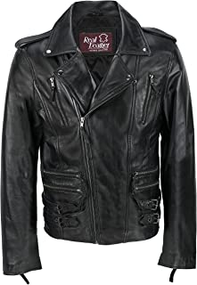Xposed Mens Black Soft Real Leather Retro Motorcycle Cross Zipped Vintage Slim Fit Biker Casual Jacket