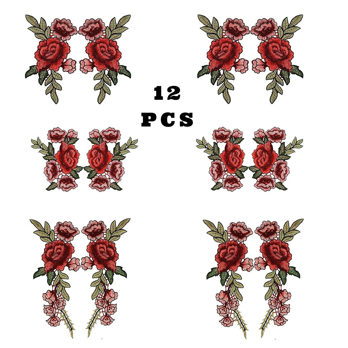 6 Set 12 PC Large Red flower patch, floral applique, Sew On Patches,Rose Patch For clothes, Jeans, Jackets, Bags, Shoes, DIY Craft Supply