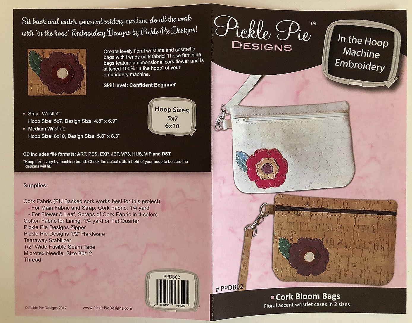 Pickle Pie Designs Machine Embroidery Designs Cork Bloom Bags