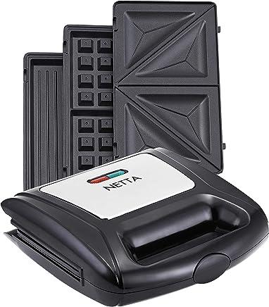 NETTA Sandwichera 3 en 1 | gofrera y parrila de mesa 3 en 1 | sistema de clic | sandwichera eléctrica | 850 vatios | función grill, gofre, sándwich | gofrera y grill 3 en 1 | 3 placas |