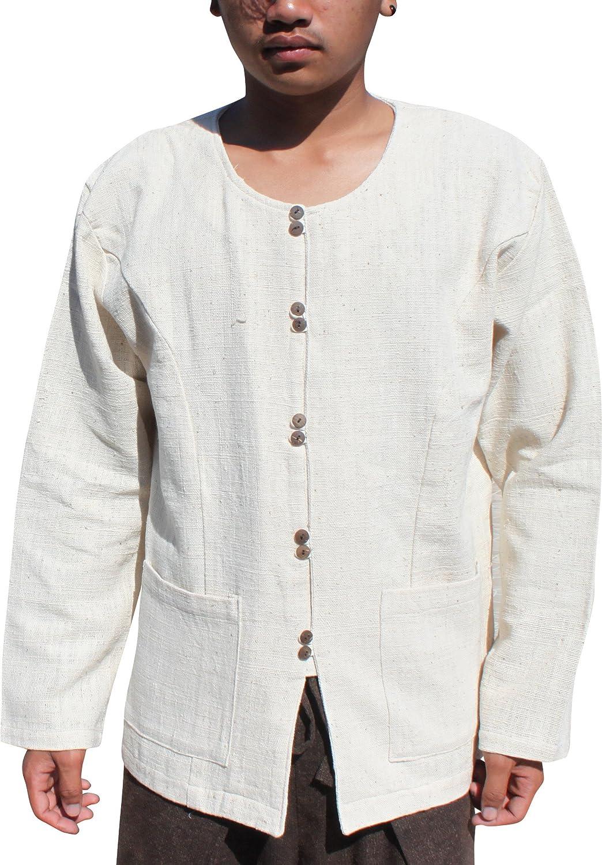 RaanPahMuang Large discharge sale Rough Fibre Mens Shirt Drag Long Cheap with Tatton Sleeve