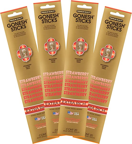 Gonesh Collection Strawberry 4 Pack Extra Rich Incense 4 Piece