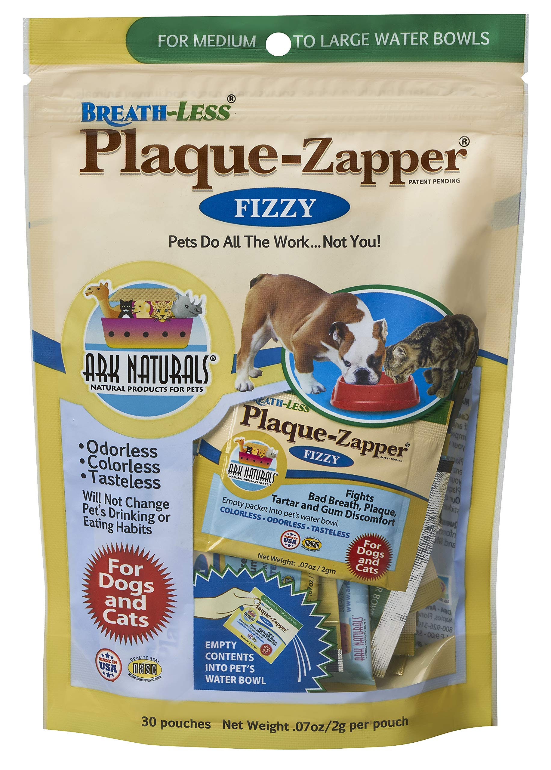 ARK NATURALS Plaque Zapper, Tasteless Water Fizzy for Cats and Dogs, Reduces Bad Breath, Plaque and Tartar, 30 Count