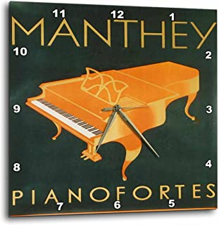 3dRose DPP_184310_1 Print of Swiss Art Deco Piano Poster with Words Wall Clock, 10 by 10