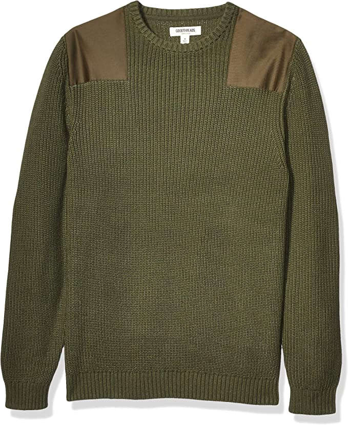Men's Vintage Sweaters, Retro Jumpers 1920s to 1980s Amazon Brand - Goodthreads Mens Soft Cotton Military Sweater  AT vintagedancer.com