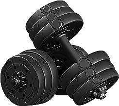 Yaheetech Halterset, 20 kg, korte halters, gietijzeren halters met stersluitingen, fitness, gymnastiek, halters voor krach...