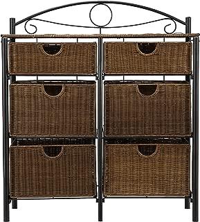 Iron/Wicker Storage Chest - 6 Baskets w/ Wrought Iron Frame - Elegant Details