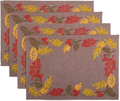 DII CAMZ11218 100% Polyester, Christmas Holiday Embroidered Placemats, Set, Shimmering Leaves