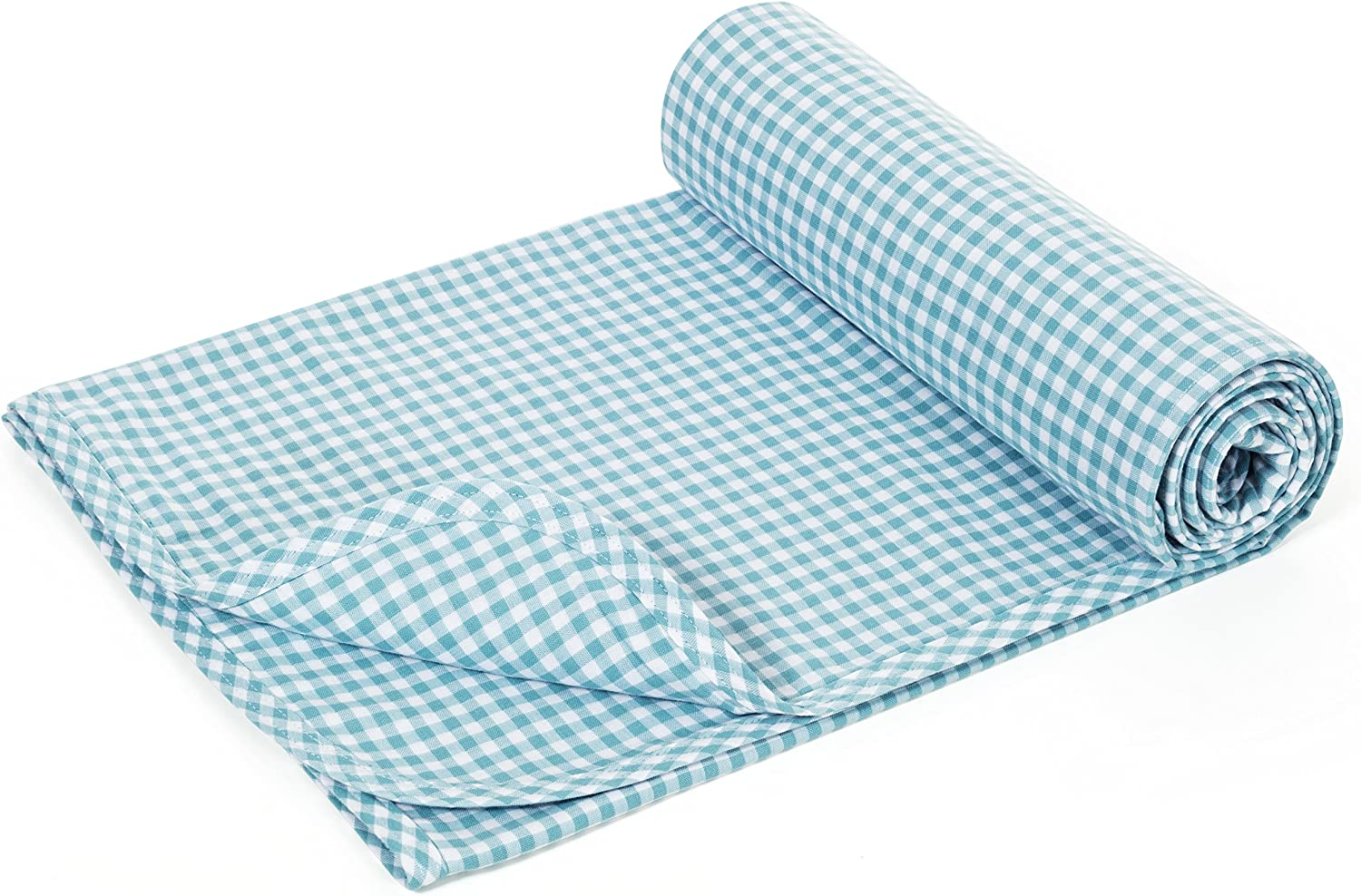 Henry and BROS. Large Double Layer Toddler Blanket, Girl Nap Blanket Boy Nap Blanket, Light Blanket for Kids, Kids Quilt Patterns Made of 100% Cotton (Aqua bluee Gingham)