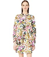 Adam Lippes - Printed Cotton Silk Faille Tiered Ruffle Mini Dress
