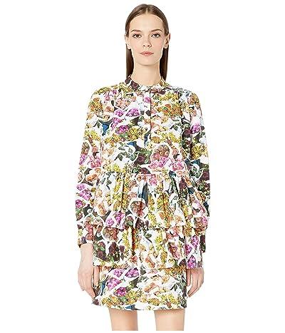 Adam Lippes Printed Cotton Silk Faille Tiered Ruffle Mini Dress (Floral Multi) Women
