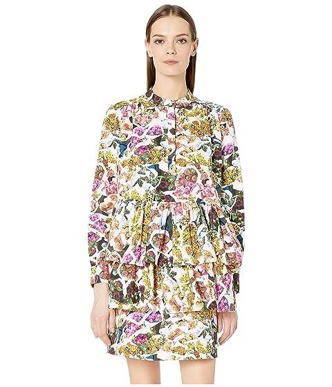 Adam Lippes Printed Cotton Silk Faille Tiered Ruffle Mini Dress
