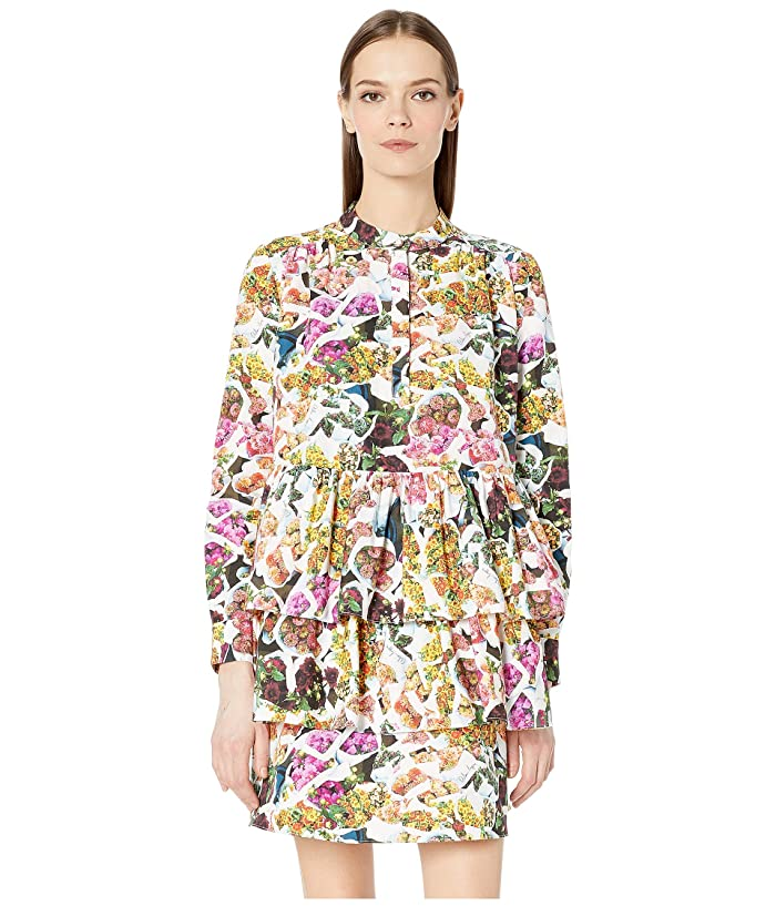 Adam Lippes Printed Cotton Silk Faille Tiered Ruffle Mini Dress (Floral Multi) Women's Dress