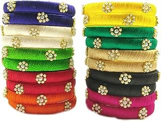 GOELX Silk Thread Bangles Set Multicolor Pearl Embellished 20 kada Bangles Set (Multicolor, 2.4)