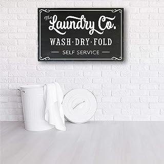 43LenaJon Décoration de buanderie, panneau Laundry Co, pliage à sec, décoration de buanderie, style fixateur
