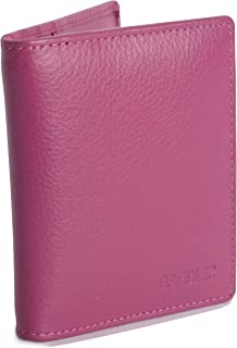 SADDLER Womens Real Leather Bifold Credit Card Holder 6 Slots & 2 Slip in Pockets | Minimalist- Perfect for ID Pass Debit ...