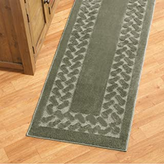 Collections Etc Herringbone Carpeted Runner Rug, Solid-Colored with Plush Decorative Trim Accents and Skid-Resistant Backing for Long Hallway, Sage, 22