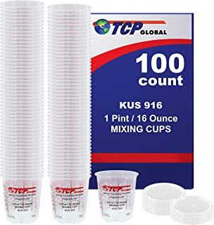 Best (Full Case of 100 each - Pint (16oz) Paint Mixing Cups) by Custom Shop - Cups have calibrated mixing ratios on side of cup Box of 100 Cups Review