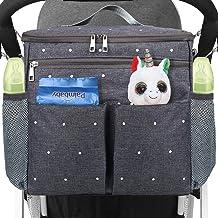 Conleke Kinderwagen Organizer, Universale Kinderwagentasche Buggy Organizer Hänge Tasche mit1 Schulterriemen, Unverzichtbares Kinderwagen-ZubehörGrau